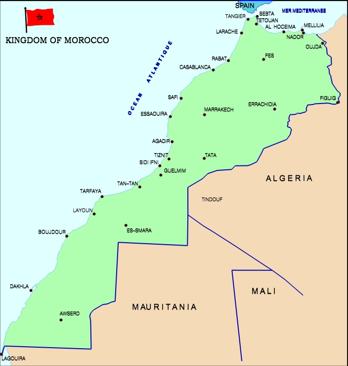 map of morocco and western sahara. Map of the kingdom of Morocco